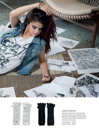 shirt selena gomez white and black tshirt jacket sleeveless denim jacket studded denim jacket
