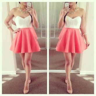 dress shoes white tank top summer dress mini dress bustier dress pink and white bustier