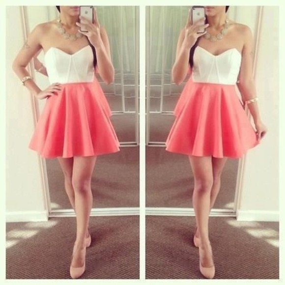 dress mini dress strapless dress cute dress bustier dress pink and white summer dress tank top bustier white