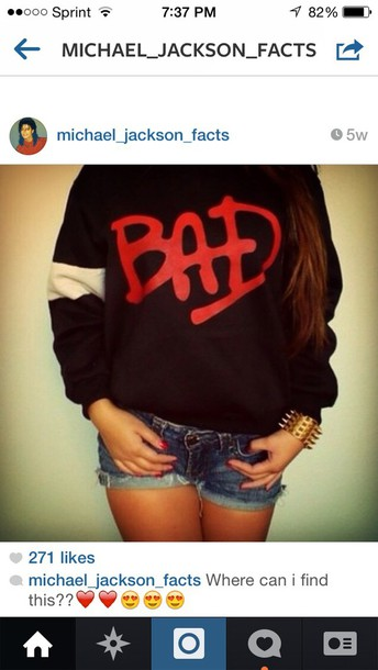 sweater black sweatshirt silver bandanna on arm read letters spelling bad
