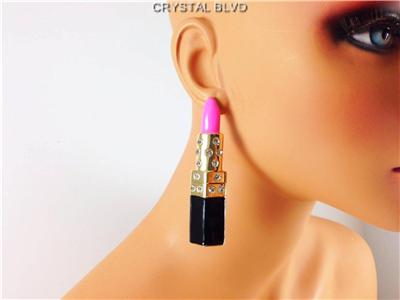 Crystal Rhinestone Lipstick Makeup Bling Diva Earrings 4 Colors | eBay