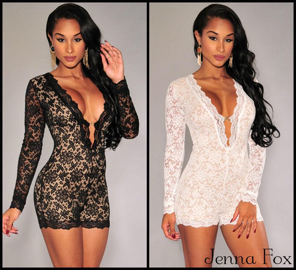 New sexy women's celeb lace long sleeve romper party playsuit jumpsuit dress