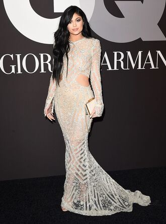 dress sequins sequin dress kylie jenner evening dress silver beaded dress