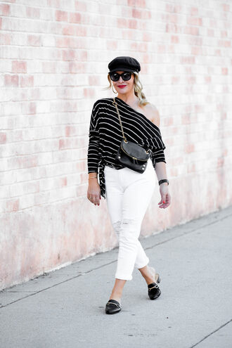 thehuntercollector blogger top bag loafers white pants striped top crossbody bag