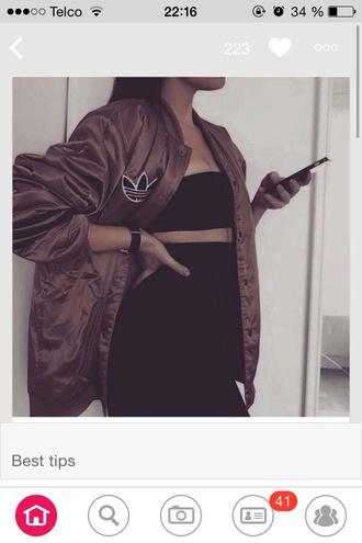 jacket brown adiddas college jacket oversized