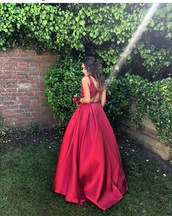 dress,ball gown dress,silk,red silk,red dress,prom dress,red
