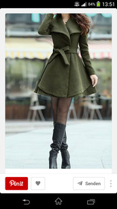 coat,skater coat,winter outfits,green coar,girly coat,round skirt coat,skirt coat,new york city,streetstyle,green,army green,warm,cozy,winter coat,cute,korean fashion,korean style,asian,skater dress,style,rose wholesale,olive green