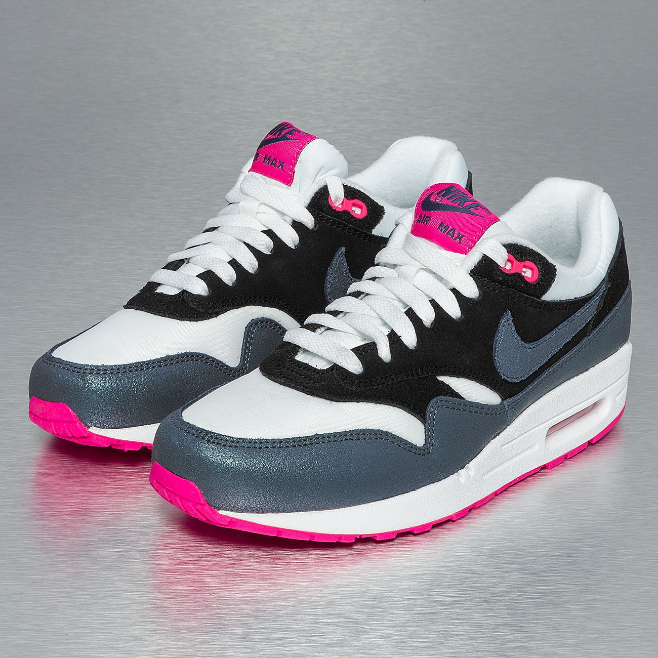 buy online a884b 43ce5 Nike Air Max 1 Essential Sneakers White/Dark Armory Blue/Pink Flash/Black