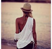 hat,summer hat,sea,sun hat,brown,beautiful,shirt,rose,cool,sexy bikini,shorts,blush,light pink,baby pink,miu miu,bikini,beach,swimwear,sweet,amazing,flawless,dream,noah,new york city,t-shirt,white,vest,naked shoulder,sunset
