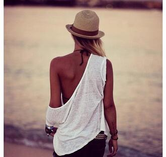hat summer hat sea sun hat brown beautiful shirt rose cool sexy bikini shorts blush light pink baby pink miu miu bikini beach swimwear sweet amazing flawless dream noah new york city t-shirt white vest naked shoulder sunset