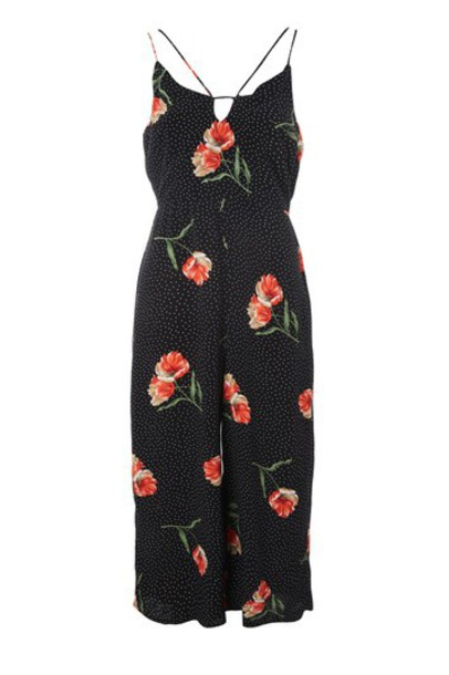 Topshop jumpsuit floral jumpsuit floral black