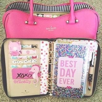 home accessory pink cute planner2014 glitter