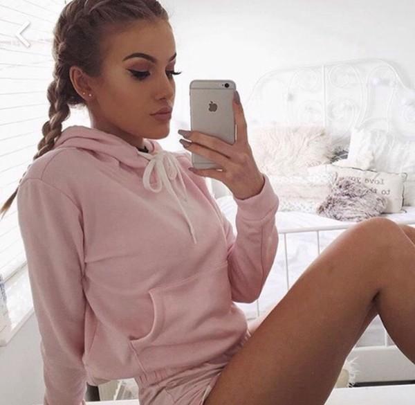 Shirt Hoodie Baddies Baby Pink Pink Sweater - Wheretoget