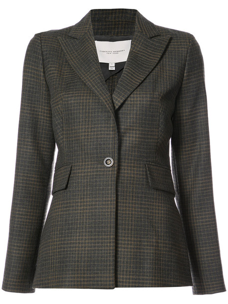 Carolina Herrera blazer check blazer women silk wool grey jacket