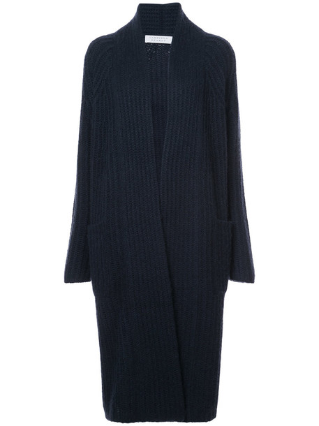 Gabriela Hearst cardigan ribbed cardigan cardigan long women blue silk sweater