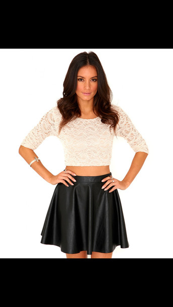 blouse skirt leather skirt lace crop top