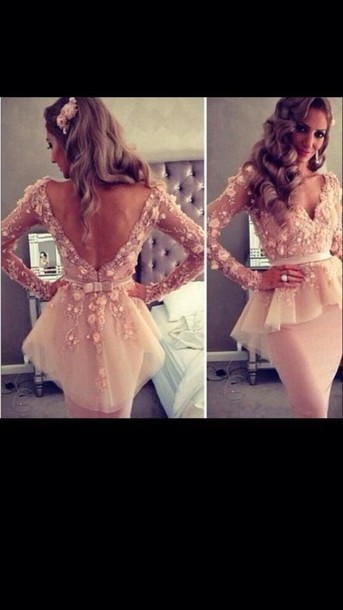 dress pink midi bow back cream champagne ivory pink dress lace dress long sleeve dress girly flowers nude peach long open back tvs show