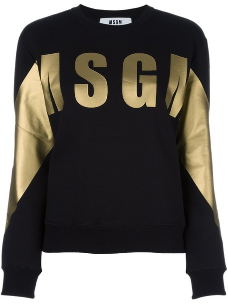 MSGM sweatshirt women cotton print black sweater