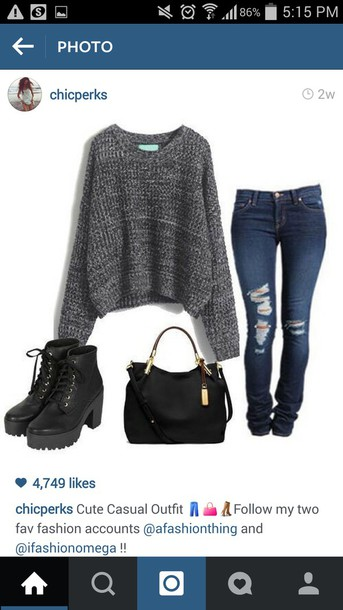 jeans ripped jeans shoes bag sweater blouse grey or black