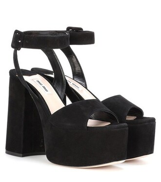 sandals platform sandals suede black shoes