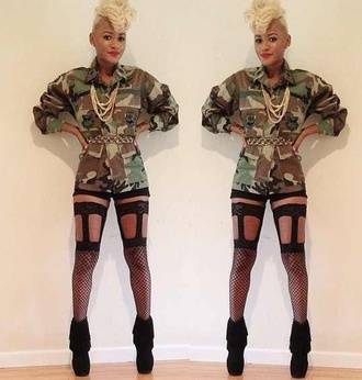 jacket army green jacket military tights leggings black leggings cut-out thigh highs hot pants underwear