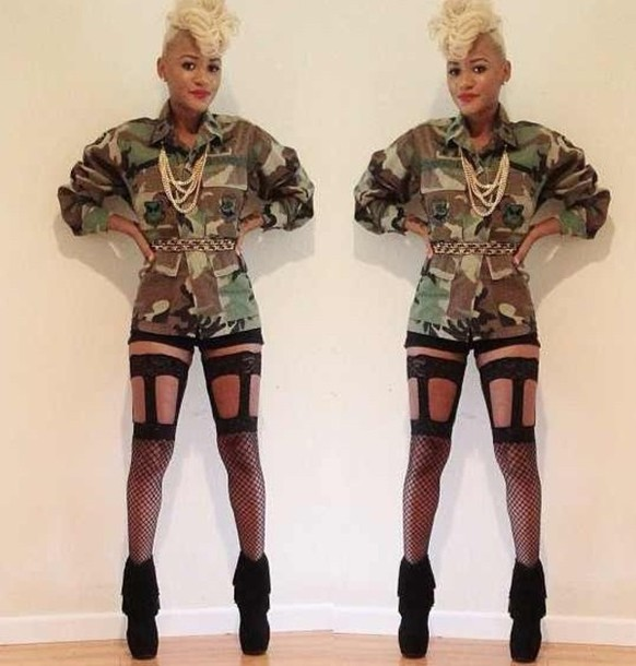 0b965013536 jacket army green jacket camouflage army green jacket tights leggings black  leggings cut-out thigh