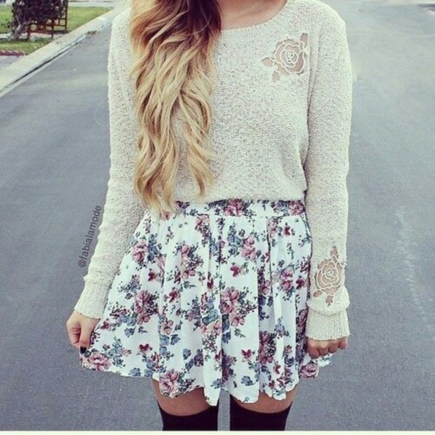 nude beige sweater mini skirt floral skirt white skirt skirt sweater wow dress blouse