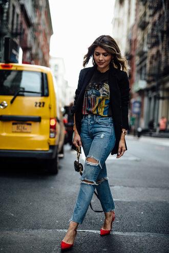 t-shirt graphic tee distressed denim pumps blazer vintage mini bag blogger blogger style band t-shirt boyfriend jeans