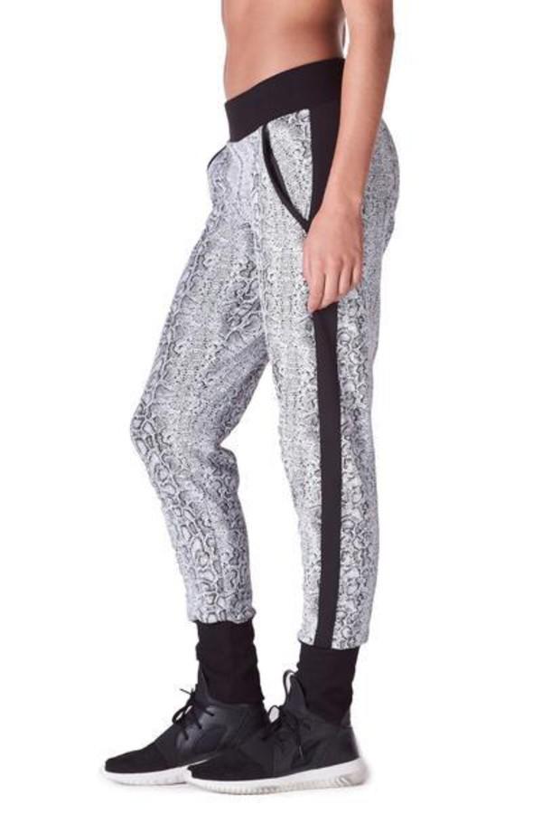 pants lightweight fabric active bottom michi white python print sweatpants bikiniluxe
