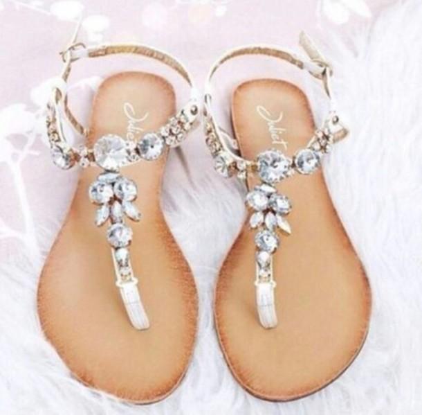 shoes flip-flops jewels fancy