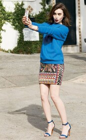 skirt,lily collins,sweater,shoes,t-shirt