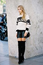 vanessa jackman,blogger,bag,oversized sweater,isabel marant,thigh high boots,shorts,leather,leather shorts