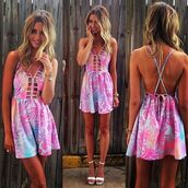 dress,summer dress,cut-out,cut-out dress,short dress,hawaiian,floral,palm tree print,crystal westbrooks,open back,cute,cute dress,printed dress,patterned dress,summer,pink,blue,purple,crossed straps,open back dresses