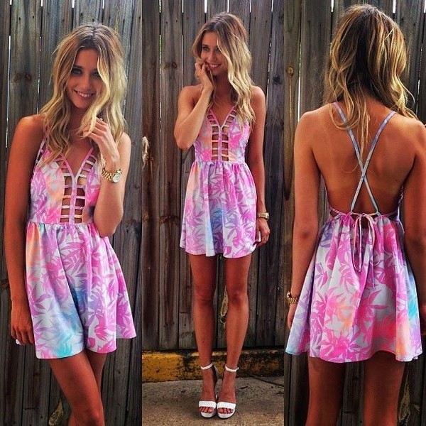 dress summer dress cut-out cut-out dress short dress hawaiian floral palm tree print crystal westbrooks open back cute cute dress printed dress patterned dress summer pink blue purple crossed straps open back dresses