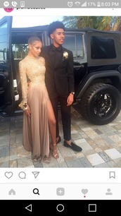 dress,prom dress,prom,prom gown,prom beauty,prom shoes,backless prom dress,long sleeves,gown,gold,long dress,long,cute,slit dress,beige dress,long prom dress