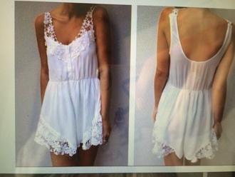 dress whit lace jumpsuit halter floral white summer white playsuit white jumpsuit romper