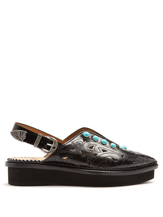 embellished flats leather flats leather black shoes
