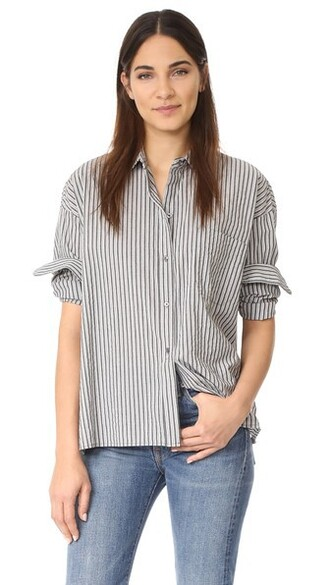 shirt white black grey top