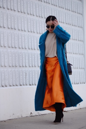 hallie daily blogger coat skirt shoes jewels sunglasses sweater top bag blue coat long coat midi skirt shoulder bag boots orange skirt knitwear satin gucci kate spade
