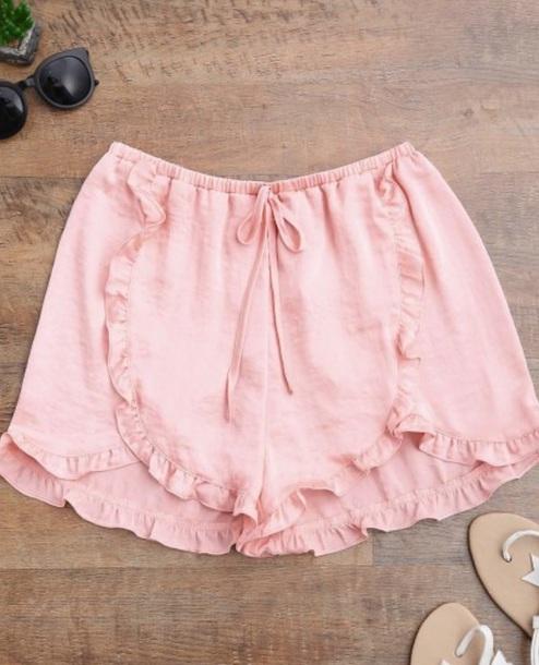 shorts girly pink ruffle