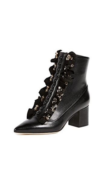 Gedebe ruffle booties black shoes