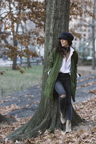 coat tumblr green coat shirt white shirt denim jeans black jeans ripped jeans boots grey boots ankle boots hat black hat fisherman cap