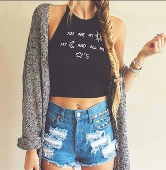 t-shirt top black top cardigan jewels shorts