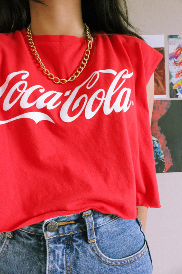 t-shirt red coca cola blouse shirt coco-cola white cute