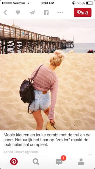 bag black leather backpack cute sweater denim shorts leather backpack