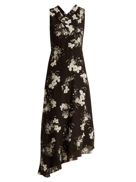 dress silk white black