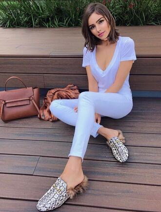 top pants slippers plunge v neck olivia culpo instagram white jeans shoes