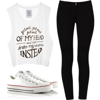 jumpsuit graphic top black skinny jeans tights white converse hipster cute