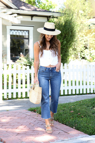jeans top hat tumblr blue jeans denim white top camisole sun hat slide shoes sandals flat sandals shoes