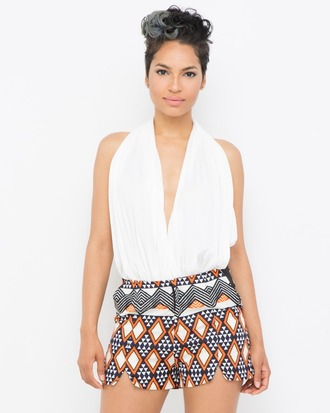 shorts orange orange shorts pattern boho patterns shorts